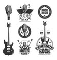 vintage rock and roll music labels emblems vector image
