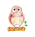 Watercolor cartoon owl sitting on the branch vector image