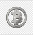 silver bitcoin trendy 3d style icon vector image