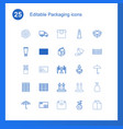 25 packaging icons vector image vector image