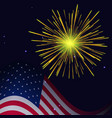 4th of july golden yellow fireworks vector image vector image