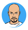 a bald man with a beard fashionable brutal alpha vector image vector image