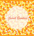 a close up background pile of candy corn vector image vector image