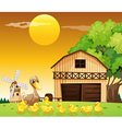 A duck and her ducklings outside the farmhouse vector image vector image