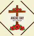 anzac day lest we forget cross decoration floral vector image