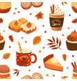 autumn pastry and drinks flat seamless pattern vector image vector image