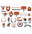 basketball game items for sport club team design vector image vector image