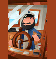 boat captain on duty vector image vector image