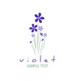 bouquet of wild violets isolated on white vector image vector image