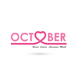 Breast cancer awareness logo design vector image vector image