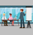business training flat color vector image