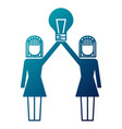 business women holding bulb creativity work team vector image