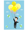 businessman float in the air by idea light bulb vector image