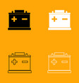 car battery black and white set icon vector image vector image