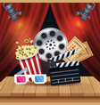 cinema entertainment with set icons vector image vector image