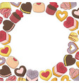 circle made from a variety of desserts cakes vector image vector image
