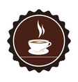 color circular emblem with coffee cup vector image