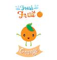 Cute Cartoon Of Orange Fruit Banner Logo vector image vector image