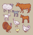 farm animals detailed icon set cartoon style vector image
