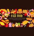 fast food restaurant meals poster vector image vector image