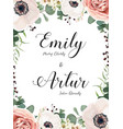 floral wedding invite elegant card with flowers vector image vector image