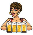 Girl of oktoberfest holding bunch of beers