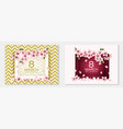 gold pink 8 march happy womens day cards vector image