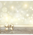 Golden ribbon bow with bokeh Christmas decoration vector image vector image