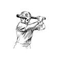 hand sketch baseball player vector image vector image