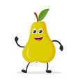happy smiling pear funny fruit concept flat vector image vector image