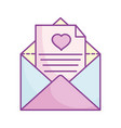 happy valentines day open envelope message paper vector image vector image