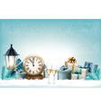 holiday new years background with presents vector image vector image