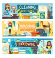 home cleaning housewife laundry house service vector image vector image