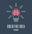 icon brain in lightbulb creative idea logo vector image vector image