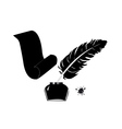 inkwell pen and scroll vector image vector image