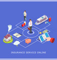 insurance service online flat isometric vector image