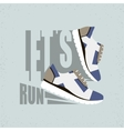 Lets run flat Running shoes vector image vector image