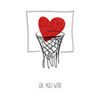 love card with heart in basketball basket vector image vector image