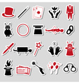 magician and magic theme set of stickers eps10 vector image vector image