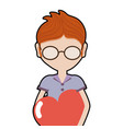 man with glasses and heart in the chest vector image vector image