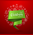 merry christmas ribbon green paper with icons vector image vector image