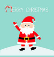 merry christmas santa claus on snowdrift happy vector image vector image