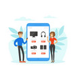 mobile online shopping people buying electronics vector image vector image