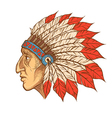 Native American Indian chief head profile vintage vector image