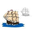 Old sail sip in ocean vector image