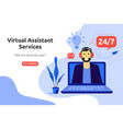 online virtual assistant services concept vector image