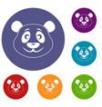 panda icons set vector image vector image
