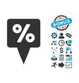 Percent Map Pointer Flat Icon with Bonus vector image