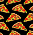 Pizza pattern Piece of tasty pizza on black vector image vector image