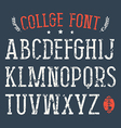 Serif font in college style vector image vector image